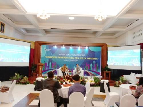 Ketua Tim Komunikasi IKN/Sesmen PPN/Sekretaris Utama Bappenas Himawan H Djojokusumo di Forum Tematik Bakohumas, Kementerian PPN/Bappenas, Jakarta, Selasa (1/10/2019). Heni | Humas Bappenas RI