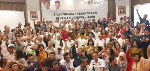 Foto bersama peserta Silaturahmi Kebangsaan Relawan Jokowi-Ma'ruf Amin di Pasar Baru, Jakarta Pusat, Sabtu (22/6/2019). Foto: DPP Bravo-5