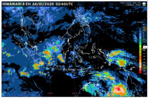 Citra Satelit Prakiraan Cuaca 24 Januari 2020 (Foto: BMKG)
